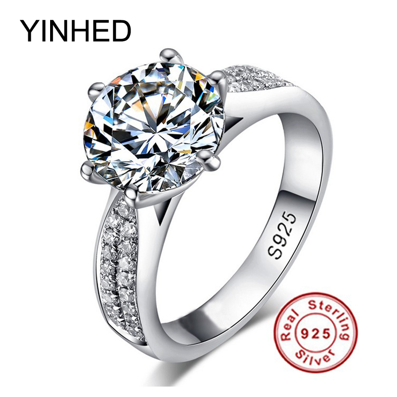 YINHED Classic Woman Wedding Ring Real Solid 925 Sterling