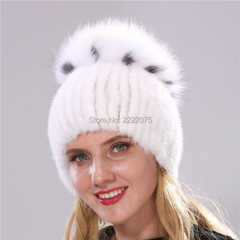 Warm fashionable real mink weave hat head with large fox hair ball насадка furminator furflex deshedding head l comfort edge large dog all hair против линьки для собак крупных пород с любой длиной шерсти