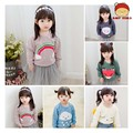Spring 2016 New Children Kids Soft Fiber Cute Cartoon Printing Round Neck Babys  Girls And Boys  Sweatshirts(2-7 Years Old)