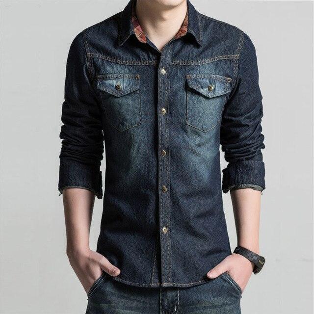 a761f617ff Nuevas camisas de mezclilla para hombre Camisa Casual manga larga moda  ajustada Camisa Jeans Masculina para