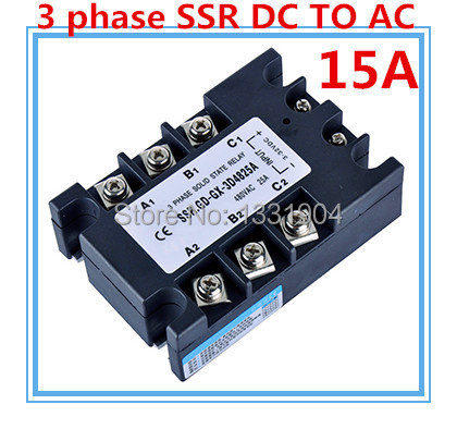 Three phase solid state relay DC to AC SSR-3P-15 DA 15A SSR relay input DC 3-32V output AC480V 3 32vdc 480vac 40a dc to ac 3 phase ssr solid state relay w indicator light