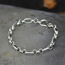 Brand 925 Sterling Silver Bracelets Trendy 19CM 21CM 6MM Link Hand Chain Bracelet Men Jewelry