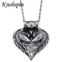 High Quality Big Wolf Pendant 316l Stainless Steel Necklace For Men Punk Rock Biker Heavy Chain