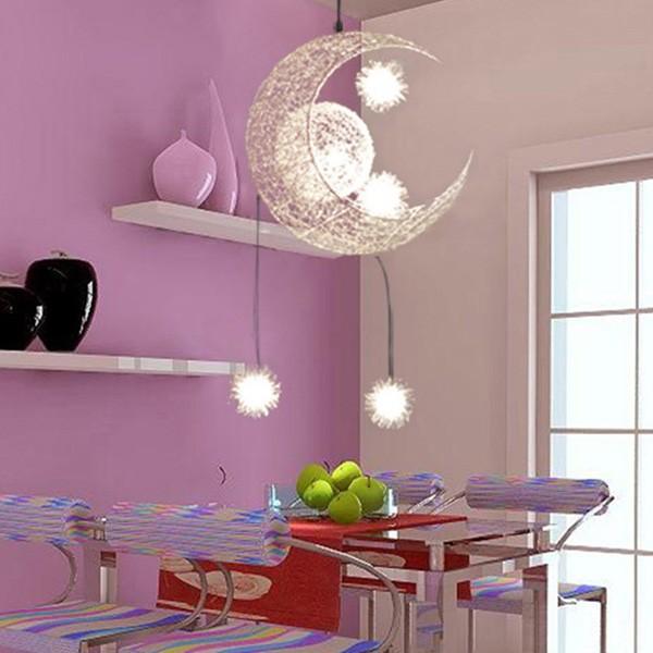 US $54.09 24% OFF Kinderzimmer Beleuchtung Moderne Mode Mond & Sterne  Pendelleuchten Kind Schlafzimmer Lampen Aluminium Chander für Wohnzimmer  Home ...
