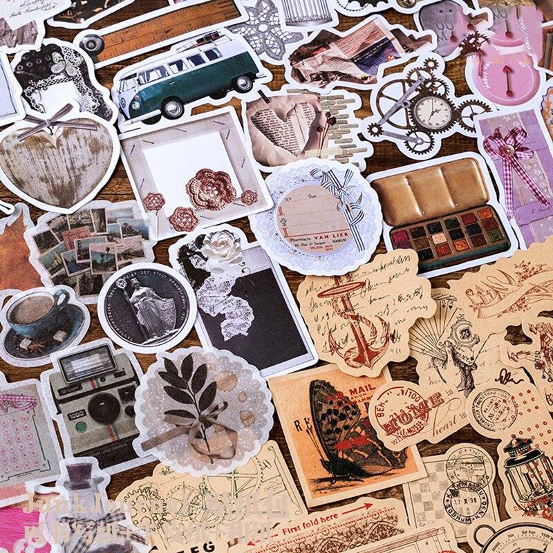 45Pcs/pack Vintage Kraft Paper Bullet Journal Stickers Flakes DIY Notepad Handmade Scrapbook Stickers Decorative Adhesive Labels