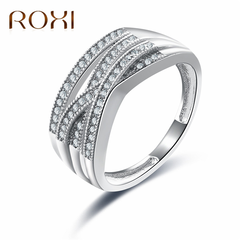 ROXI 2018 Simple Wedding Band Rings For Women Shiny Elegant Cubic Zircon Jewelry Anniversary Engagement Ring anillos mujer