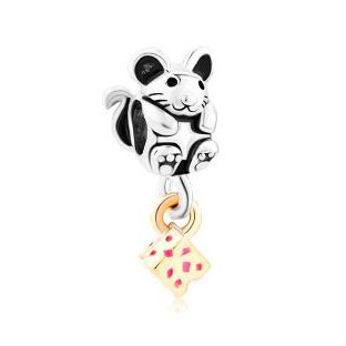 Fit Pandora charm bracelets Silver Adorable Mouse With 14 K Cheese Beads Charms Bracelets Beads for jewelry making