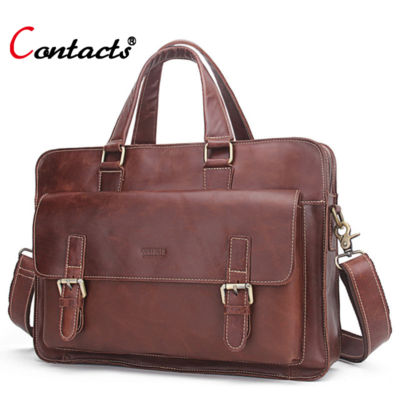 CONTACT'S Genuine Leather Men Bag business Handbag briefcase men shoulder Messenger bag casual laptop bag designer high quality lemonmiyu long infants boy trousers elastic waist cotton baby jeans full length pants newborn cartoon mid casual spring pants