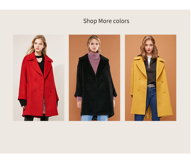 ONLY womens' winter new long section with wool double-breasted woolen coat Simple and versatile Double-breasted|11836T512 8