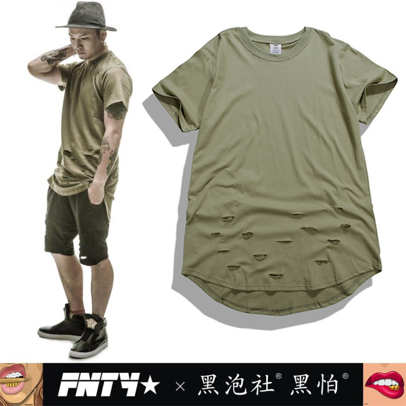 New summer hip hop men 39 s t shirt ellipse cutting short for Cut shirts for men