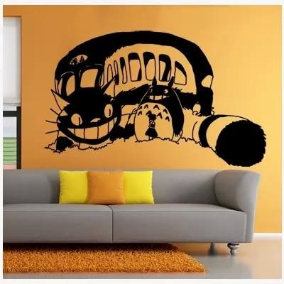 japanese cartoon totoro vinyl wall decal creative big cat bus anime