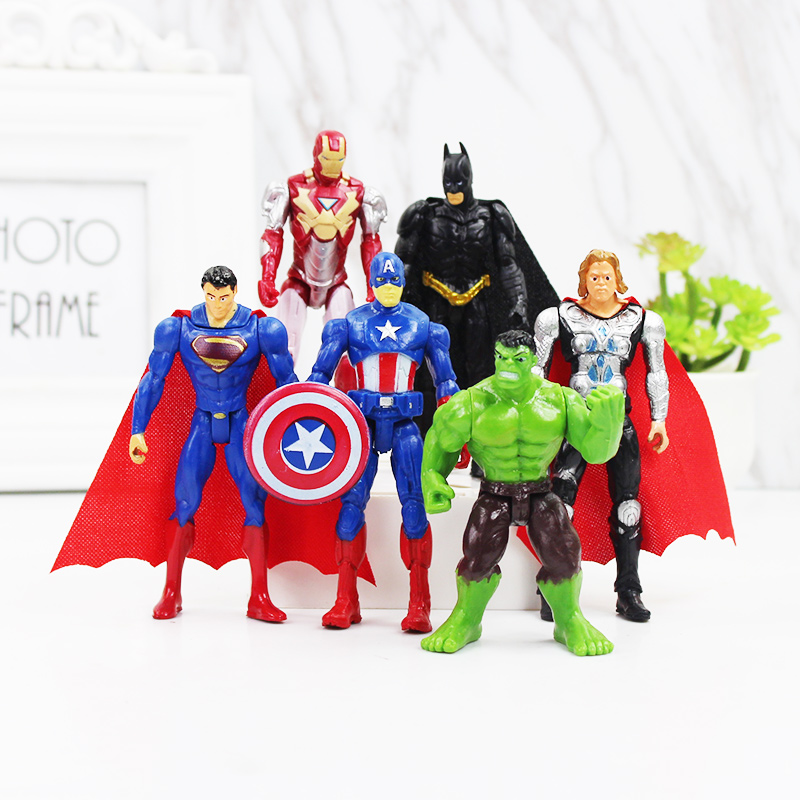 Avengers Figures Toys Marvel Super Hero Charcters 6 Pcs Superman Batman Hulk