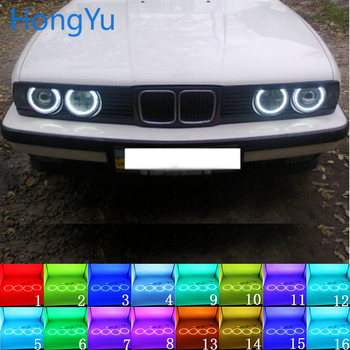 for BMW E30 E32 E34 Accessories Latest Headlight Multi-color RGB LED Angel Eyes Halo Ring Eye DRL RF Remote Control image