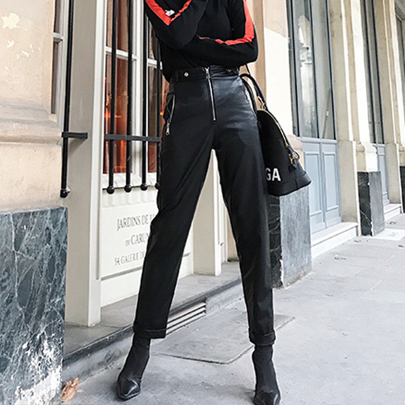 Cuero Panst Lana Getsring Cintura Pu Todo La Pantalones atrovirens Moda Mujeres Largos Fósforo Invierno Las Ocio Alta Black De Gruesa qqFYz