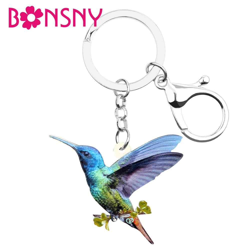 Bonsny акриловый зеленый Летающий брелок с изображением Колибри брелоки милые животные ювелирные изделия для женщин девочек подростков талисманы много подарочные украшения