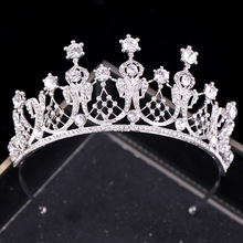Baroque Silver Crystal Bridal Tiaras Crown Rhinestone Pageant Diadem Headbands Wedding Hair Accessories Tiara De Noiva недорого