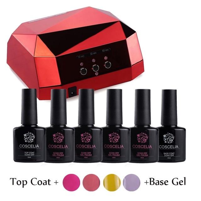 4x10Ml Kit Nail Gel Manicure Set Gel Nail Polish Set With LED Lamp ...