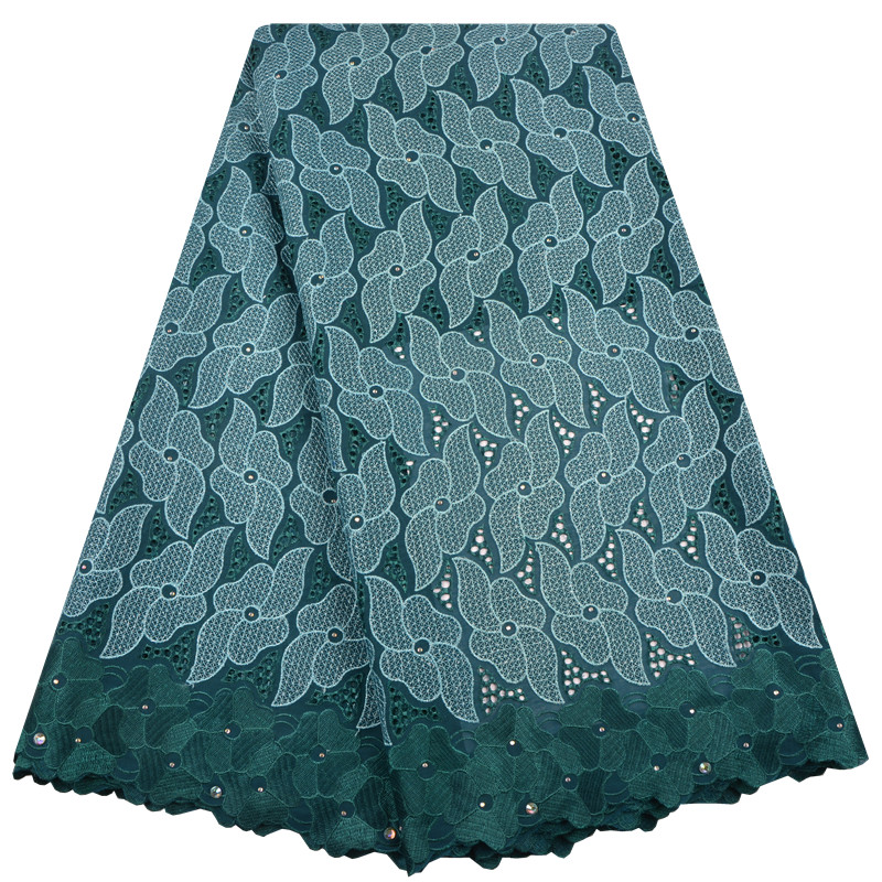 High Quality Teal Swiss Voile Lace 2019 African Voile Swiss Lace Fabric African Cotton Voile Lace