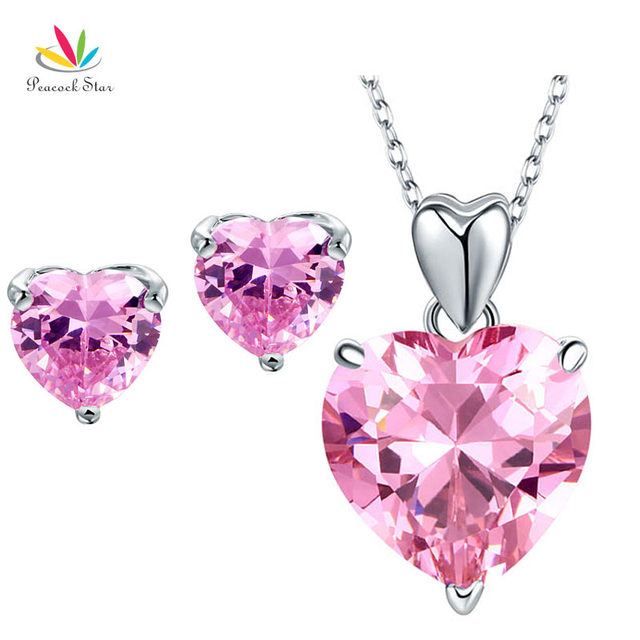 Peacock star solid 925 sterling silver pink heart pendant necklace peacock star solid 925 sterling silver pink heart pendant necklace earrings set bridesmaid wedding jewelry fn8044 aloadofball Image collections