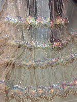 bin001# 5yards/bag 3d big sequin sparkle tulle mesh lace fabric for sawing/evening dress