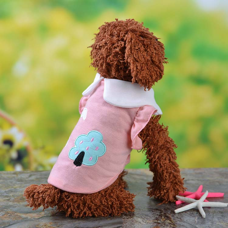 Fresh Cute Dog Coat Shirt For Small Dogs Puppy Pet Cotton T-shirt Vest Teddy Chihuahua Clothes in Spring and Summer Blue Yellow Pink Purple8