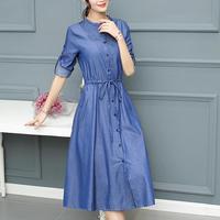 2018 autumn Women Denim Dress Elegant Long Sleeve o neck Dress Casual Jeans dress plus size 2XL