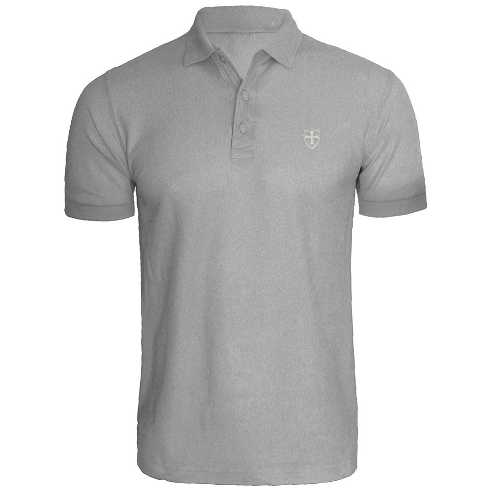 Mens Maltese Cross with Shield Embroidered Long Sleeve Polo Shirts