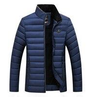 Mens Warm Striped Fleece Down Jacket   2018 Brand New Male Plus Size Down Parkas Overcoat Men Winter Jacket Men Park Outwear