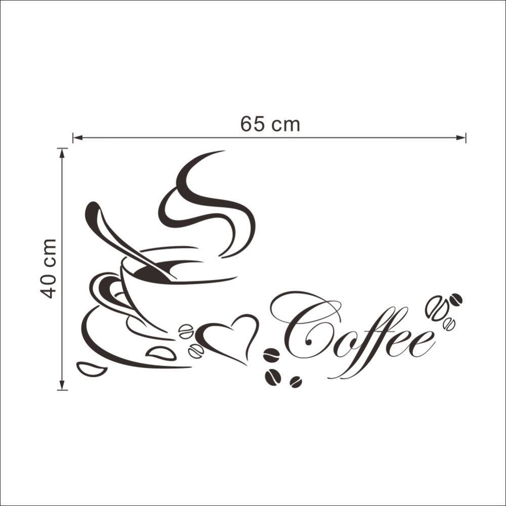 wall sticker picture more detailed picture about coffee cup with coffee cup with heart vinyl quote restaurant kitchen removable wall stickers diy home decor wall art