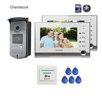 FREE SHIPPING BRAND 7 Home Video Intercom Door Phone Recoder System 2 Monitor RFID Card Reader