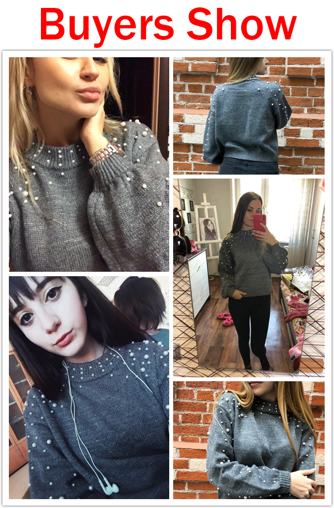 Simenual Autumn winter 18 women sweaters and pullovers bead lantern sleeve knitted sweater pullover female grey slim jumpers 2