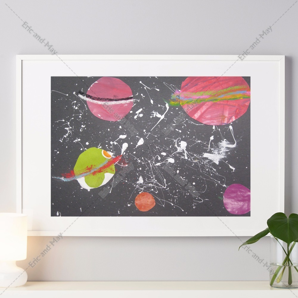 Ink Paint Solar System Canvas Art Print Painting Poster Wall Pictures For  Living Room Home Decoration