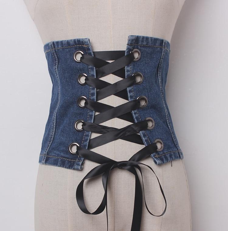Women's Runway Fashion Vintage Bandage Denim Cummerbunds Female Dress Coat Corsets Waistband Belts Decoration Wide Belt R1163