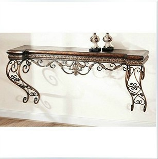 Continental Iron Console Tables Vestibule Half  Round Table Leisure  Furniture , Wrought Iron Wall Shelf