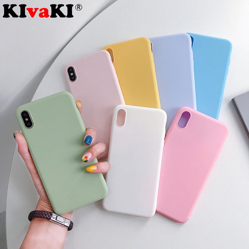 Fashion Solid Color Silicone Back Cases For Iphone XR X XS Max 6 6S 7 8 Plus 5 5s SE Cover Candy Color Soft Simple Phone Case