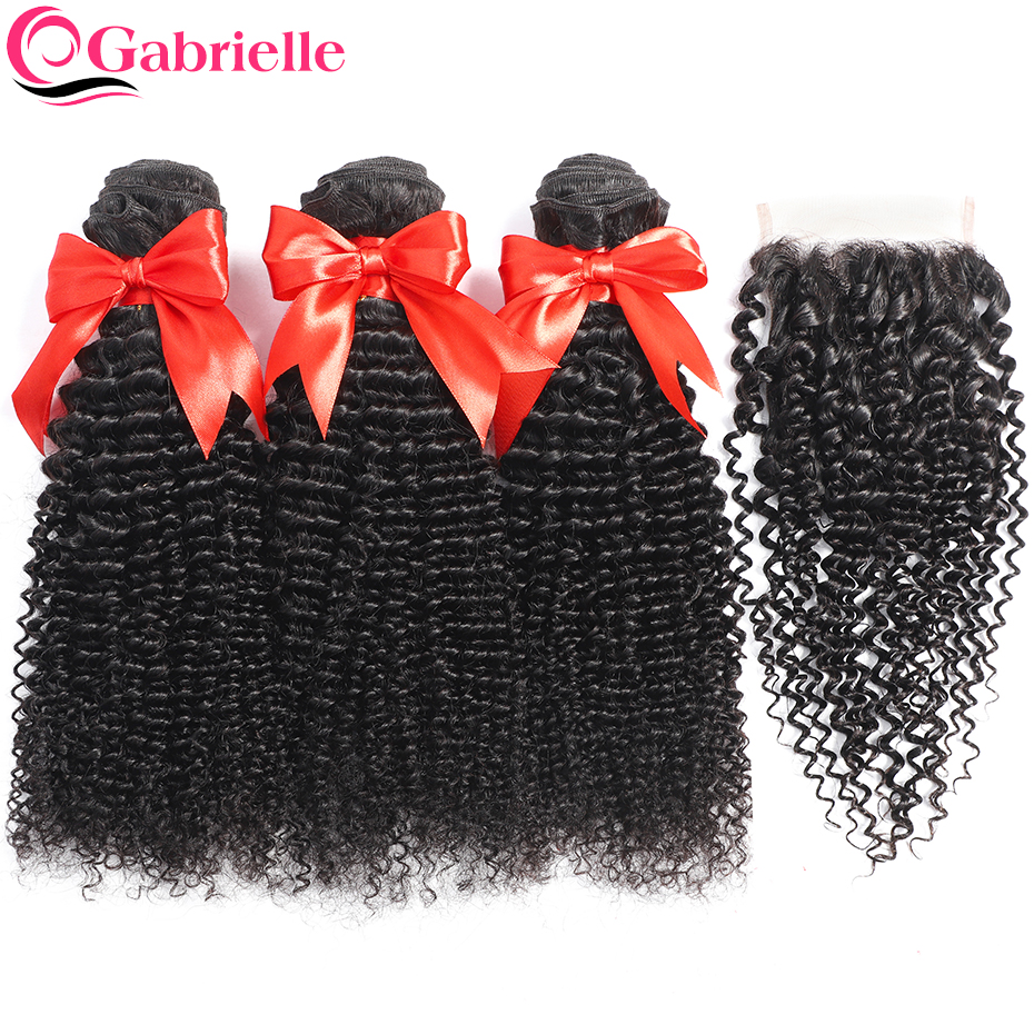 Gabrielle Deep Curly Hair Bundles with Closure Brazilian Human Hair Weave Bundles with Lace Closure Remy Hair Extensions-in 3/4 Bundles with Closure from Hair Extensions & Wigs    1