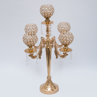 H62cm Wedding Crystal Candelabra Candle Holder wedding Centerpiece Gold candelabrum 10pcs/lot