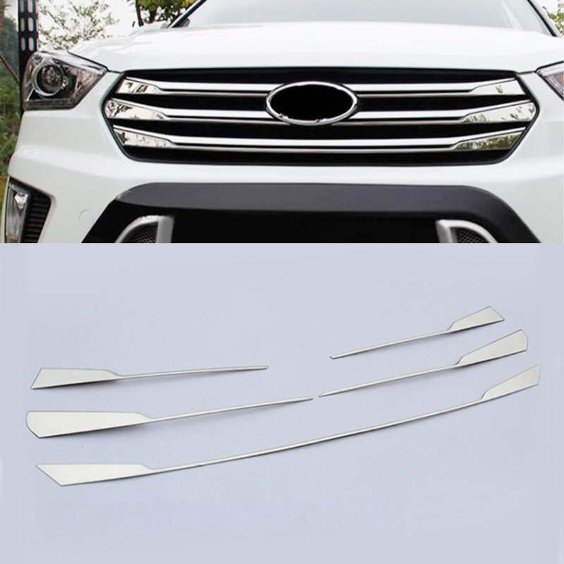 5 Pieces Stainless Steel Front Grille Cover Trim Exterior Decoration Car Accessories Fit For Hyundai Creta IX25 2015 2016 20175 Pieces Stainless Steel Front Grille Cover Trim Exterior Decoration Car Accessories Fit For Hyundai Creta IX25 2015 2016 2017