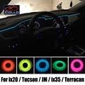 EL Fio Para Hyundai ix20 ix25/Tucson/JM/ix35/ix Tucson/Terracan/Atmosfera Romântica Decoração Da Lâmpada de Luz Fria linha