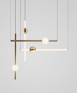 Image 1 - Postmodernistyczny artystyczny Design złota dioda wisiorek światła kreatywny długi kij nocna szlachetny salon Hotel Hall wisząca lampa oprawy