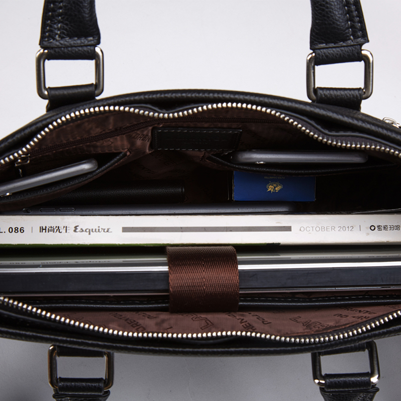 LAORENTOU Men's Genuine Leather Handbag Shoulder Messenger Bag Business Laptop Briefcase Man Quality Leather Notebook Briefcases