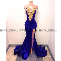 Royal Blue Mermaid Prom Dresses With Gold Applique Sexy High Slits Long Satin African Black Gilrs Prom Dress 2019 Formal Gowns