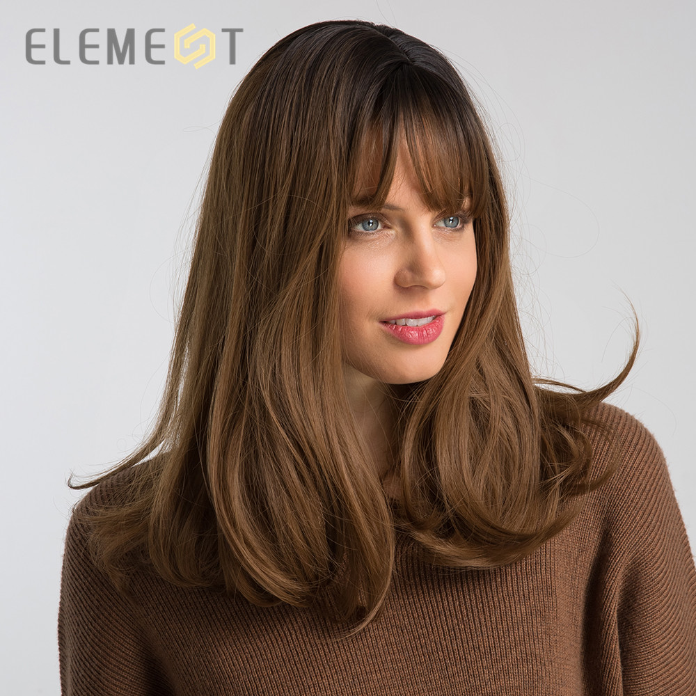 Element 16 Inch Synthetic Wig With Bangs Natural Headline Ombre Brown Color Fashion Cosplay Party Replacement Wigs for Women
