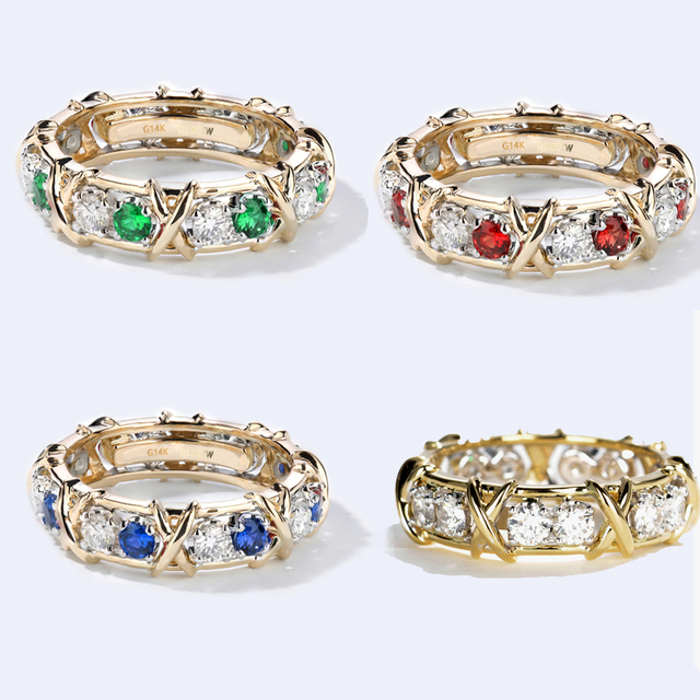 1.6 CTW Carat Lab Grown DF Moissanite Sapphire Ruby Eternity Band Solid 14K Yellow Gold Engagement Anniversary Ring