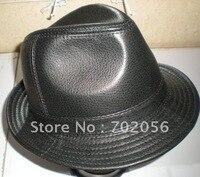 Solid Mens Fedoras Top Hats Goat Cow LEATHER BUCKET HAT TO GENTLEMAN HAT CAP 5pcs/lot #2285