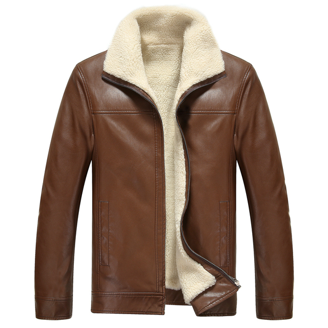 FreeShipping Hot Sale Brand Winter Thick Leather Garment Casual flocking Leather Jacket Men's Clothing Leather Jacket Men