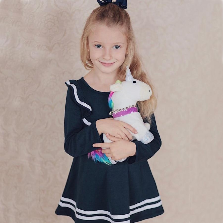 HTB16ruUJ9zqK1RjSZFLq6An2XXaU Bear Leader Girls Dress 2019 New Autumn Casual Ruffles A-Line Striped Full Sleeve Kids Dress For 3T-7T