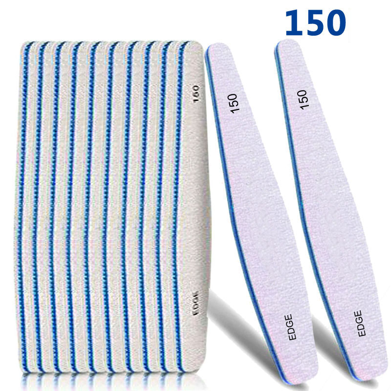 10pcs/lot Professional Nail Files 150/150 Grit Double Side Drop Type Sanding Nail Art Files Washable Buffering File High Quality