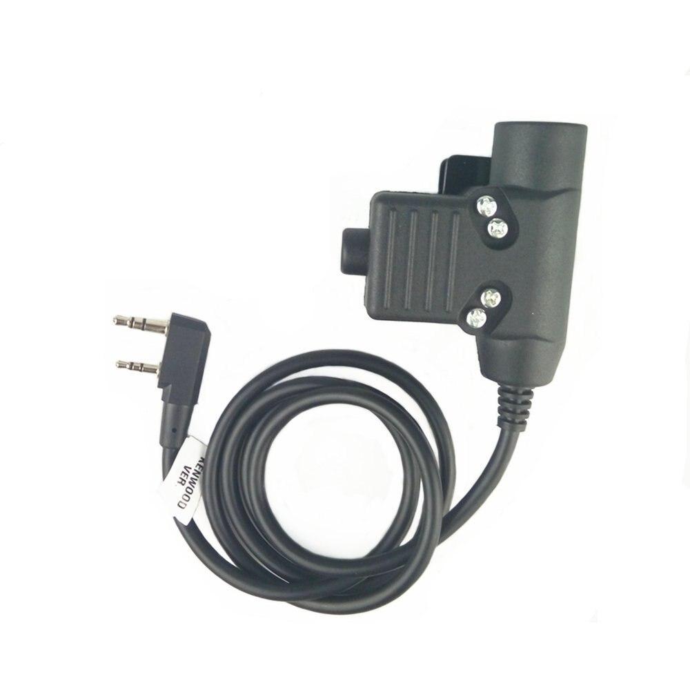 Z-TAC Tactical U94 Auricolare PTT Per Cuffie Radio Militare per Kenwood 2 Pin Nero Per baofeng, quasi tutti: Uv5r, bf-/490/320