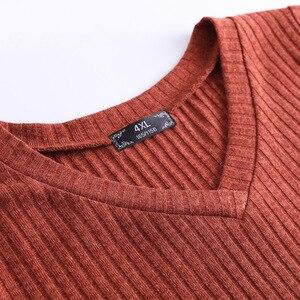 Image 5 - Плюс размер 10XL 8XL 6XL 4XL,Российские размеры 66, 62, 58, 54 женское осеннее трикотажное платье пуловер с v образным вырезом, пуловер полной длины для женщин, платье миди